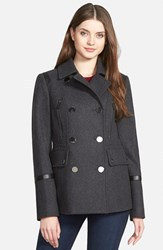 Women's Michael Michael Kors Faux Leather Trim Wool Blend Peacoat Charcoal