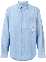 Ermanno Scervino Embroidered Chambray Shirt Blue