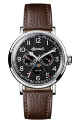 Ingersoll Watches Men's St. John Moonphase Leather Strap Watch 44Mm Brown Black Silver