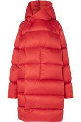 Rick Owens Oversized Hooded Quilted Shell Down Coat Red