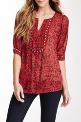 Nostalgia Elbow Length Sleeve Sheer Stud Blouse Red