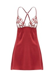 Fleur Of England Marilyn Floral Embroidered Silk Blend Nightdress Burgundy