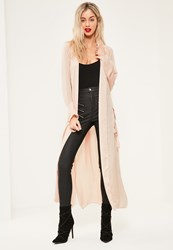 Missguided Tall Exclusive Nude Hammered Satin Duster Jacket