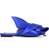 No 21 Bow Detail Satin Peep Toe Mules Blue