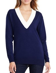 Lauren Ralph Lauren Relaxed V Neck Sweater Navy