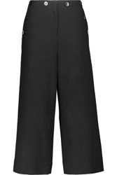 Tibi Anson Cropped Stretch Crepe Wide Leg Pants Black