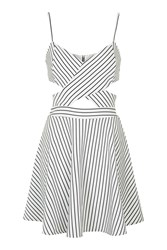 In Love Black And White Striped Cut Out Skater Dress By Wyldr Multi