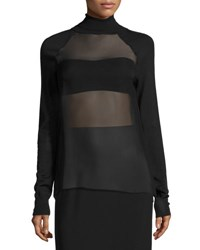 Ralph Lauren Sheer Panel Turtleneck Top Black