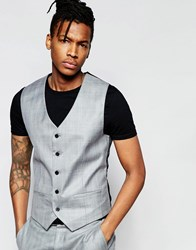 French Connection Check Waistcoat Grey
