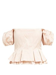 Brock Collection Orsman Hammered Satin Peplum Top Pink