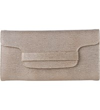 Lk Bennett Laura Metallic Lizard Effect Leather Clutch Gol Plat Blush