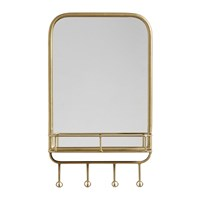 Nordal Rectangle Mirror With Shelf And Hooks Gold