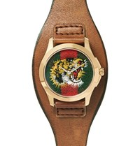 Gucci Le Marche Des Merveilles 38Mm Gold Tone And Leather Watch Brown