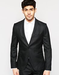 Selected Homme Skinny Check 1 Button Blazer With Stretch Black