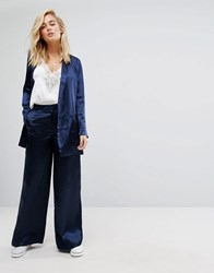 Moss Copenhagen Wide Leg Trousers In Hammered Satin Co Ord Sky Captain Navy