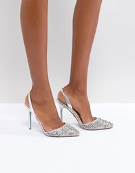 Blue By Betsey Johnson Betsy Silver Sonia Embellished Heeled Shoes