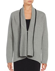 Calvin Klein Leatherette Trimmed Cardigan Tin Black