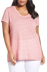 Sejour Plus Size Women's V Neck Stripe Tee Red Stripe