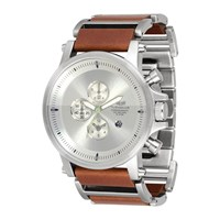 Vestal Plexi Leather Watch Silver Brown