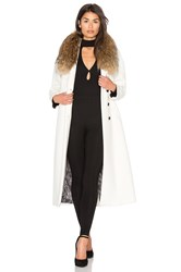 Soia And Kyo Chanelle Coat With Asiatic Raccoon Fur Trim White