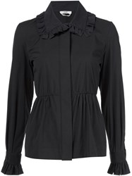 Fendi Ruffled Collar Shirt Black