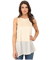 Dylan By True Grit Sleeveless Peplum Back Zipper Pearl Women's Blouse White