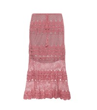 Anna Kosturova Marianne Crocheted Cotton Skirt Pink