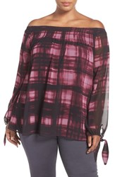 Addition Elle Love And Legend Plus Size Women's Plaid Chiffon Off The Shoulder Blouse