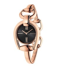 Gucci Ya139507 Horsebit Rose Goldtone Bangle Watch
