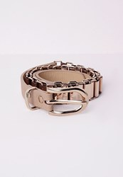 Missguided Chain Link Belt Nude Beige
