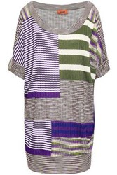 Missoni Woman Patchwork Effect Ribbed Knit Top Lilac