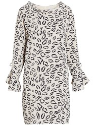 Gina Bacconi Abstract Animal Stretch Georgette Dress Beige Navy