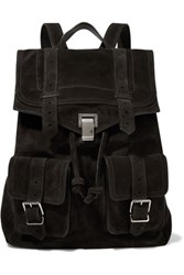 Proenza Schouler Leather Paneled Suede Backpack Charcoal