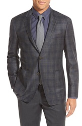 Todd Snyder Trim Fit Plaid Wool Sport Coat Dark Grey