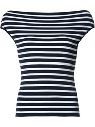 Michael Kors Boatneck Striped Knitted Blouse Blue