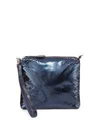 Carlos Falchi Rolling Stone Crossbody Wristlet Bag Metallic Blue