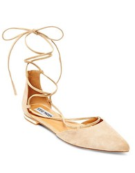 Steve Madden Sunshine Lace Up Ballet Flats Tan