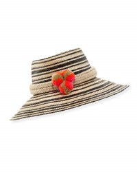 Guanabana Handmade Guajiro Striped Mawisa Sun Hat Black Natural Black Patterned