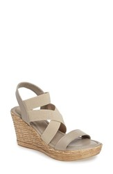Tuscany Women's By Easy Street Felisa Wedge Sandal Taupe Fabric