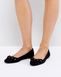 London Rebel Flower Trim Slipper Shoes Black Micro