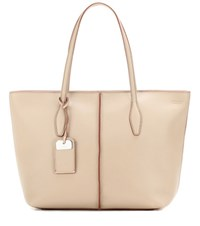 Tod's Joy Medium Leather Shopper Beige
