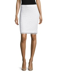 Max Studio Lace Overlay Pencil Skirt Ivory