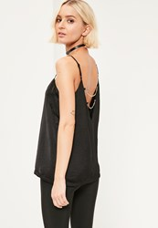 Missguided Black Chain Back Cami Top