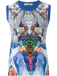 Piccione.Piccione Piccione. Piccione Peacock Print Contrast Trims Knitted Gilet Blue