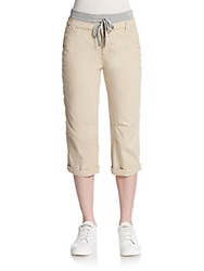 Saks Fifth Avenue Blue Cropped Poplin Pants Light Khaki