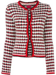Moncler Gamme Rouge Jacquard Button Down Cardigan Red