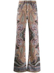 Etro Paisley Print Flared Jeans Brown