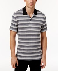 Alfani Men's Stretch Striped Polo Only At Macy's New Grey Combo