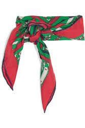 Gucci Printed Silk Twill Scarf Red