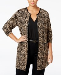Jm Collection Plus Size Printed Faux Leather Trim Duster Cardigan Only At Macy's Cafe Zebra